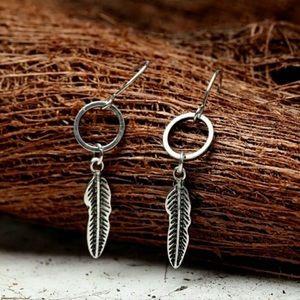 Minimalist sterling silver feather earrings